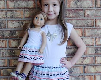 3 Sizes-Girl + Doll Skirt Set-Coral Aztec