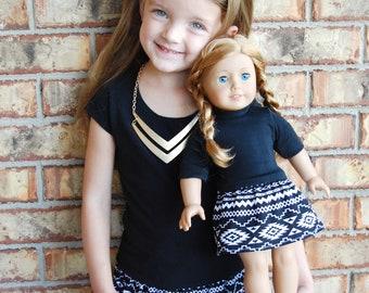 3 Sizes-Girl + Doll Skirt Set-Mod Aztec