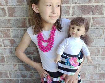 3 Sizes-Girl + Doll Skirt Set-Pink Floral
