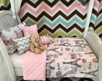 doll bedding for 18 inch american girl blanket pillow set colorful mum petal 4