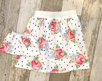 3 Sizes-Girl + Doll Skirt Set-Rose Floral