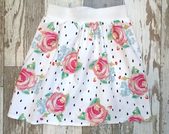 3 Sizes-Girls Trendy Floral Skirt-Rose Floral