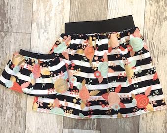3 Sizes-Girl + Doll Skirt Set-Mint Floral