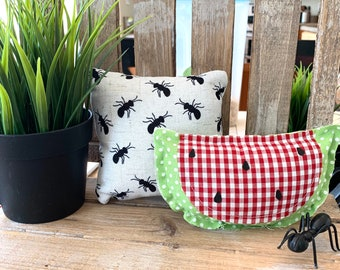 Watermelon + Ant Rustic Mini Pillows