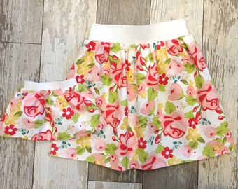 3 Sizes-Girl + Doll Skirt Set-Beauty Floral