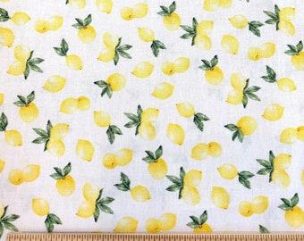 Yellow & White Lemon Fabric by the Yard