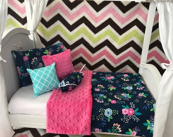 """American Girl 18"""" Doll Bedding Set,  5 pc. Navy Floral"""