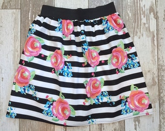Girls Trendy Floral Skirt-3 Sizes-Pink Floral