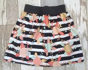 3 Sizes-Girls Trendy Floral Skirt-Mint Floral