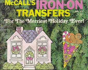 1977 Vintage McCall's Iron-On Transfers For the Merriest Holiday Ever Booklet Over 30 Designs Transfer Quickly to Fabric or Wood