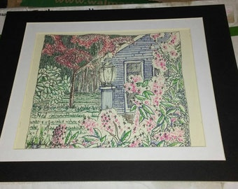Original colored pen and ink drawing.  Unframed, 9x11