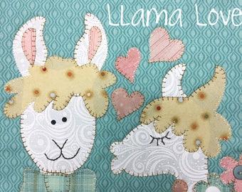 Llama Love applique mug rug PDF Pattern from Quilt Doodle Designs