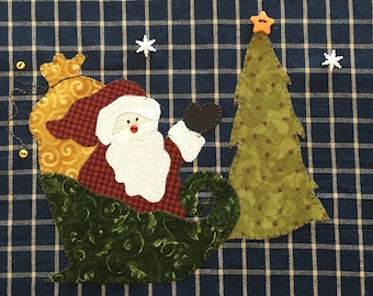 Santa's Sleigh Applique  PDF Pattern for Tea Towel