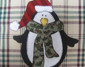 Jolly penguin applique pdf pattern for tea towel etsy