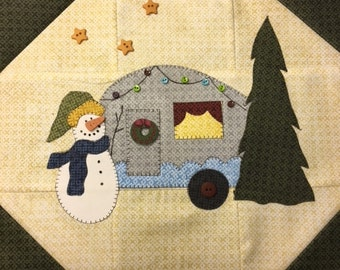 Snow Much Fun BOM 2018 'Camping Snowman' Aprils Block PDF Pattern
