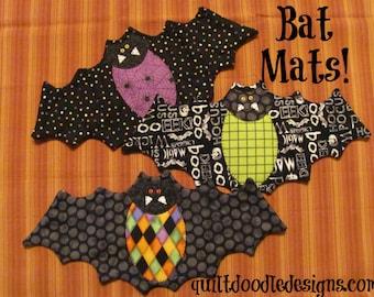 Going Batty Bat Mug Mats for Halloween PDF pattern
