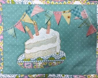 Eat Cake Happy Birthday Mug Rug PDF mini quilt pattern