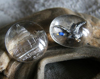 Vintage lot of four reverse intaglio crystal cabochons