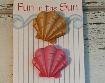 Sea Shell Buttons, Carded Set of 3, Fun In The Sun Collection, Style FN120 by Buttons Galore