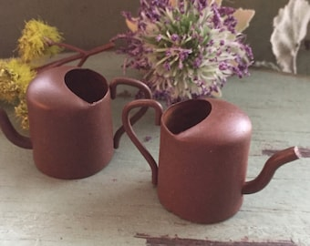 "Miniature Rusty Watering Cans,  1.25"", Packaged Set of 2 Pieces, Fairy Garden Accessory, Garden Decor, Primitives, Miniature Gardening"