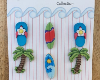 "Beach Buttons, Palm Trees, Surfboards, Flip Flops, Carded Novelty Buttons by Buttons Galore, Fun in the Sun Collection, ""Paradise Found"""