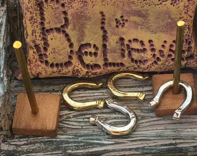 Miniature Horseshoe Game Set, Horse Shoes, Dollhouse Miniatures, 1:12 Scale, Dollhouse Accessory, Miniature Yard and Garden, Mini Game