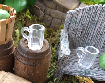 Miniature Beer Mugs Clear Set of 4 Dollhouse Scale 1:12 Dollhouse, Decor, Miniature Garden Accessory