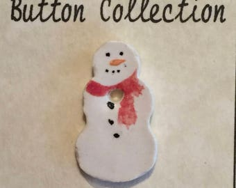 Ceramic Snowman Button, Hand Painted, Mill Hill Button Collection, Petite Snowman Button, Sewing, Crafting, Cross Stitch, Embellishment