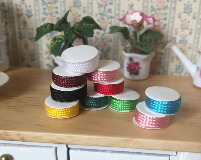 Miniature Spools of Ribbon, Dollhouse Miniatures, 1:12 Scale, Crafts, Packaged Set of 10 Spools, Assorted Colors, Dollhouse Decor Accessory
