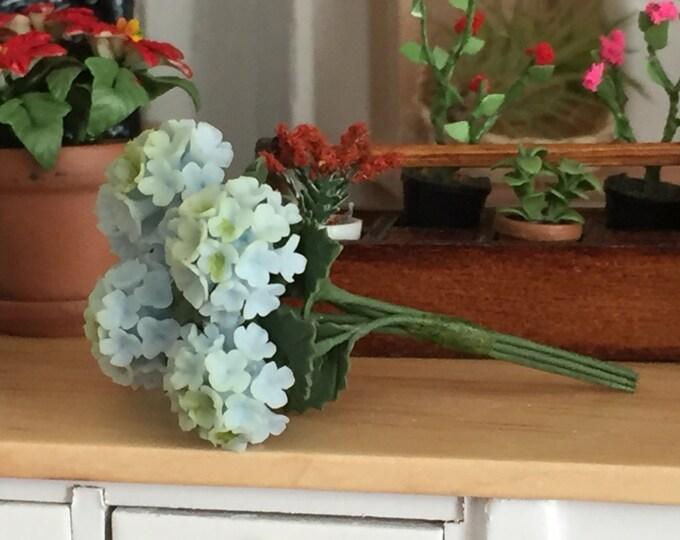 Miniature Hydrangeas. 6 Piece Bunch of Blue Hydrangeas, #69BL Dollhouse Miniature, 1:12 Scale, Miniature Flowers, Dollhouse Accessory