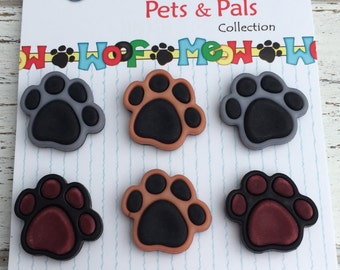 """Dog Paw Print Buttons, Carded Novelty Buttons """"Precious Paws"""" Style PP100 by Buttons Galore, Carded Set of 6 Buttons, Shank Back"""