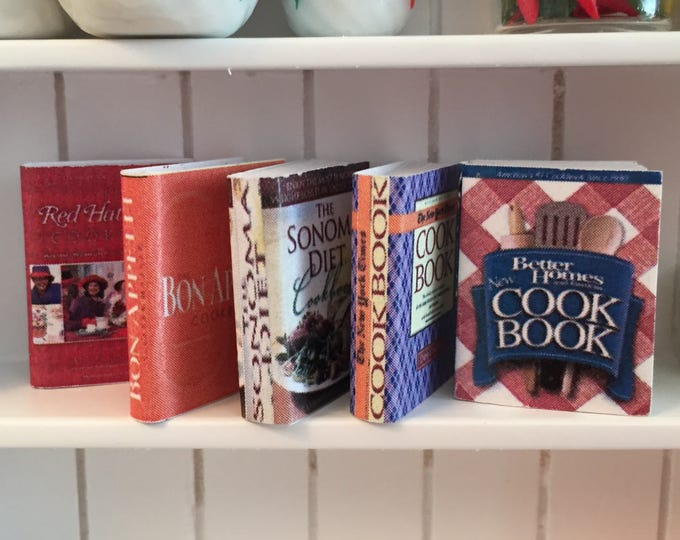 Miniature Cookbooks, 5 Piece Set, Dollhouse Miniatures, 1:12 Scale, Mini Books, Dollhouse Kitchen Accessory, Cooking