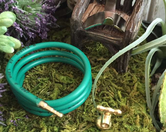 Dollhouse Miniature Garden Hose With Holder and Nozzle, Fairy Garden Accessory, Yard and Garden Decor, Miniature Gardening, Mini Lawn Hose