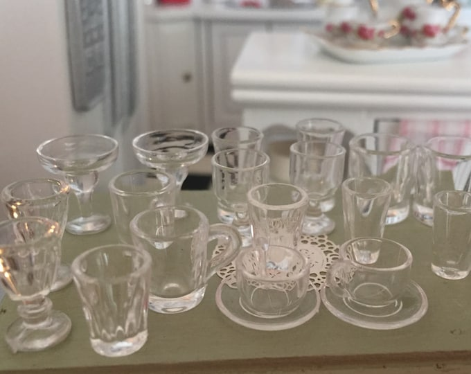 Miniature Glasses, Cups, Mugs & More, 22 Pc Set, Style 7352, Miniature Drink Ware, Dollhouse Miniatures, 1:12 Scale, Dollhouse Accessories