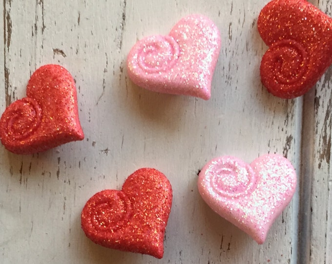 """Heart Buttons, Glittered Pink and Red Hearts, Packaged Shank Back Novelty Buttons by Buttons Galore, """"My Love"""" Style 4318, Sewing, Crafting"""