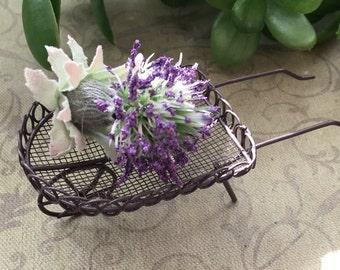 Mini Metal Wire Wheelbarrow, Garden Cart, 5 Inch Wheelbarrow, Fairy Garden Accessory, Miniature Gardening, Home & Garden Decor