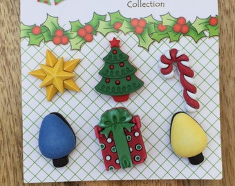 "Holiday Buttons, Christmas Tree, Star, Candy, Lights & Present, Novelty Buttons by Buttons Galore, ""Good Tidings"", Holiday Fun Collection"