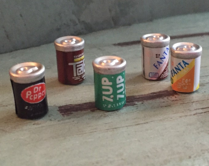 Miniature Pop Soda Cans, Packaged Assortment Set, Dollhouse Miniatures, 1:12 Scale, Dollhouse Accessories, Pretend Drinks, Play Food