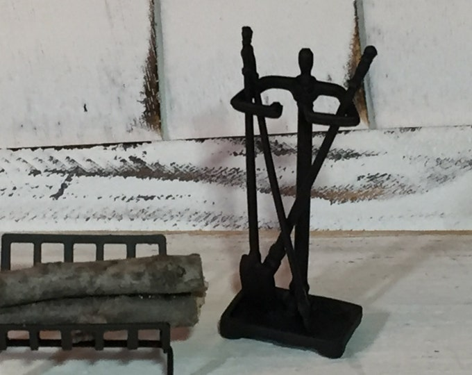 Miniature Fireplace Tools, 4 Piece Set, Black Mini Fireplace Tools, Dollhouse Miniatures, 1:12 Scale, Dollhouse Accessories, Mini Tools