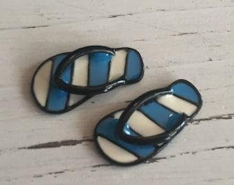 Miniature Flip Flops, Blue and White Stripe Flip Flop Shoes, Sandals, Dollhouse Miniature, 1:12 Scale, Dollhouse Accessories, Mini Shoes