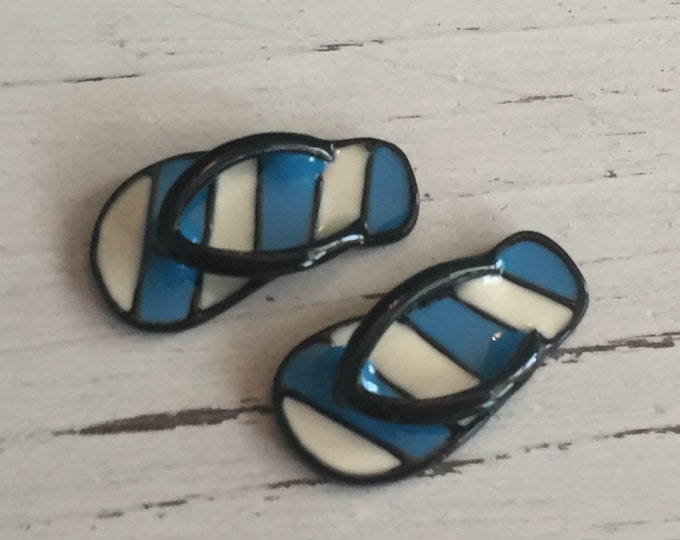 Miniature Flip Flops, Blue and White Stripe Flip Flop Shoes, Sandals, Dollhouse Miniature, 1:12 Scale, Dollhouse Accessories, Mini Shoes