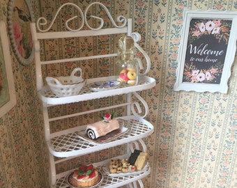 Miniature White Metal Baker's Rack, Dollhouse Miniature Furniture, 1:12 Scale , Dollhouse Kitchen Decor, Shelving, Rack, Miniature Shel