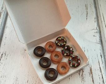 Miniature Box of Donuts, Dollhouse Miniature,  1:12 Scale, Dollhouse Food, Miniature Food, Dollhouse Accessory, Decor, Mini Food