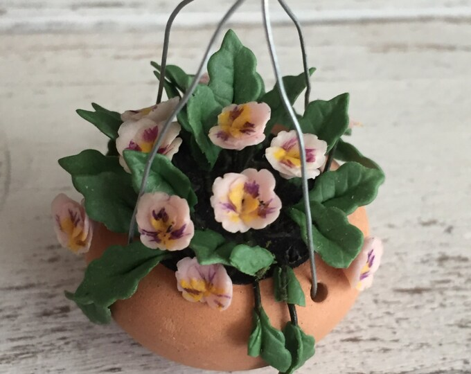 Miniature Hanging Flowers, Clay Pot, Pink Pansy Flowers,  Dollhouse Miniature, 1:12 Scale, Style 1680, Miniature Flowers