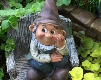 Mini Sitting Garden Gnome Figurine, Fairy Gnome Garden Accessory, Miniature Garden, Garden Decor, Topper, Shelf Sitter