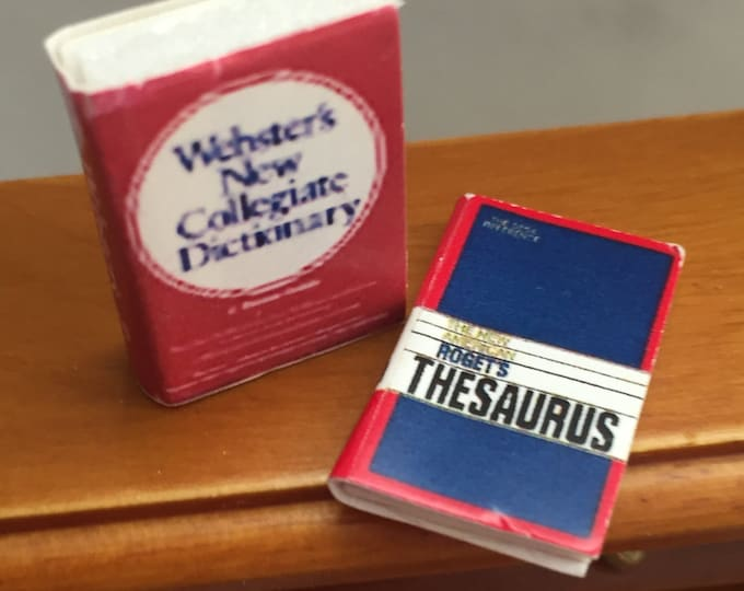 Miniature Desk Set Dictionary & Thesaurus, Dollhouse Office, Dollhouse Miniatures, 1:12 Scale, Book Set