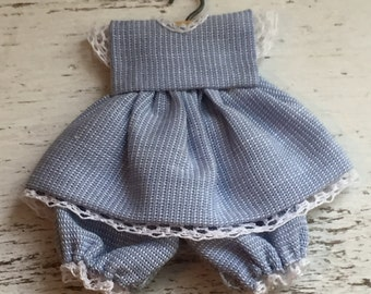 Miniature Blue Baby Dress and Bloomers on Hanger with White Lace Trim, Dollhouse Miniature, 1:12 Scale, Dollhouse Accessories, Nursery, Baby