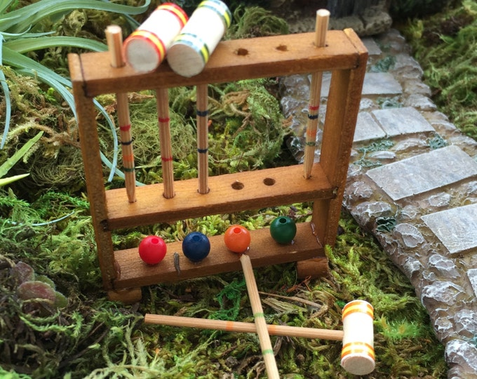 Miniature Wood Croquet Set With Removable Mallets, Dollhouse Miniature, 1:12 Scale, Home & Garden Decor, Miniature Accessory, Mini Game