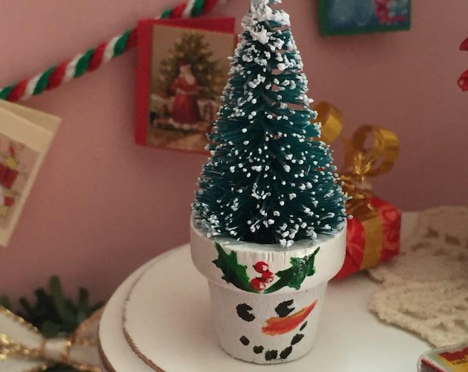 Miniature Tree in Snowman Flower Pot, Dollhouse Miniature, 1:12 Scale, Holiday Decor, Miniature Home and Garden Decor, Dollhouse Tree