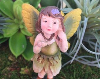Fairy Figurine, Mini Fairy With Green Ombre Flower Dress, Yellow and Green Wings, Fairy Garden, Miniature Gardening, Home & Garden Decor
